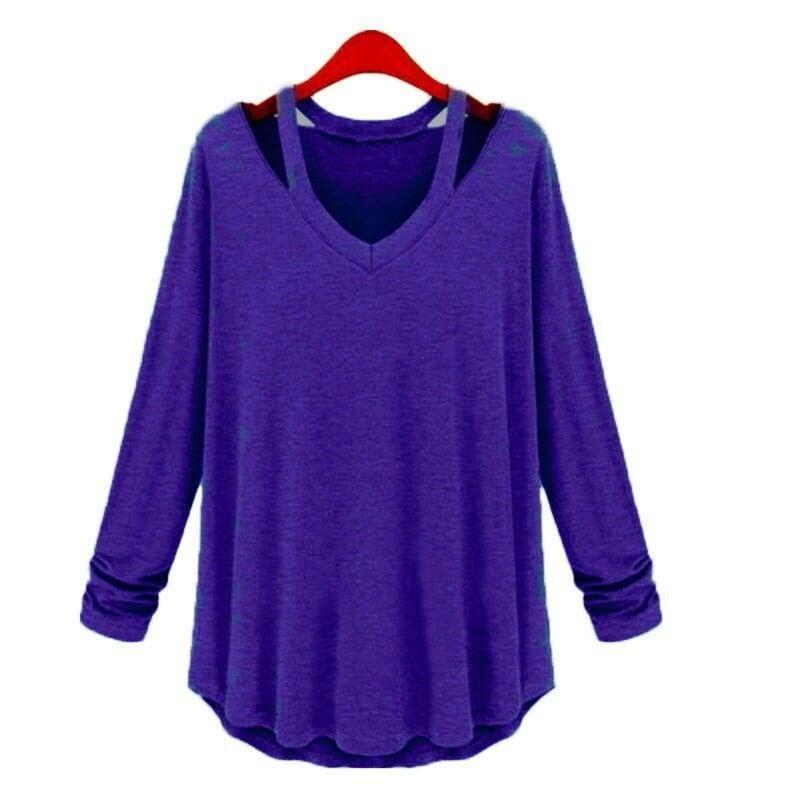 女性ファッションカジュアルコットンTシャツロングスリーブTシャツファッションプラスサイズトップス