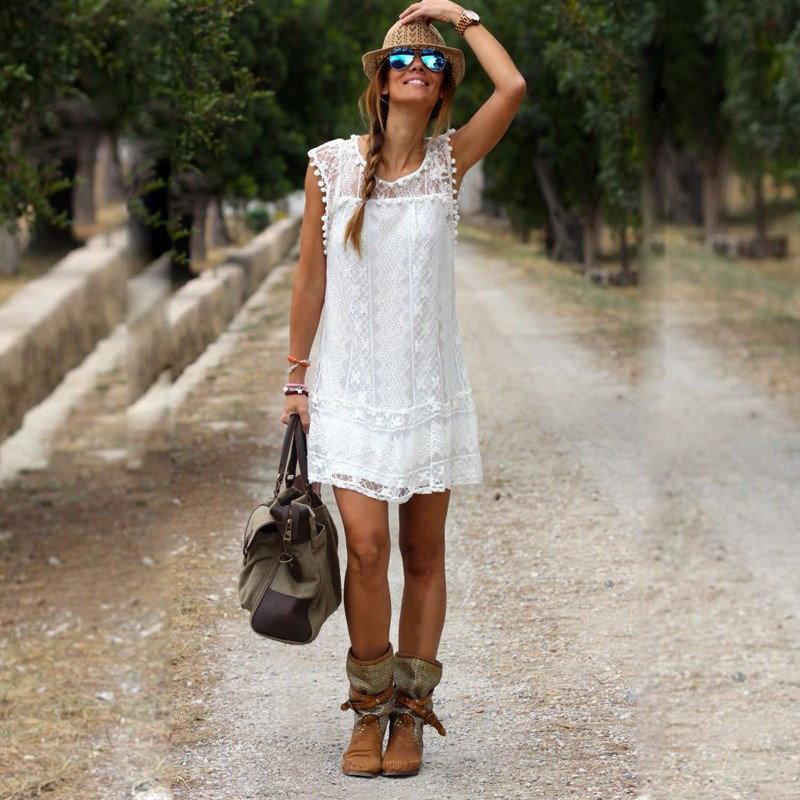 Vestidos 2016夏の女性の ドレス エレガント な女性カジュアル固体ミニ サマードレスレディースセクシー な白い ドレス プラス サイズ の女性服