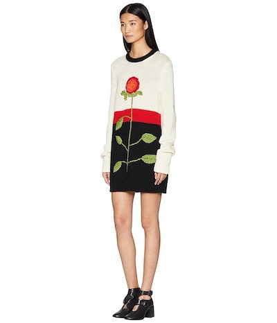レッドヴァレンティノ レディース ワンピース トップス Wool Yarn、 Color Blocks and Hand Stitched Flower Embroidery Sweater Dres