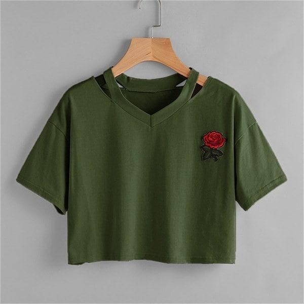新しい女性の短いTシャツ夏のファッションセクシーな中空カジュアル半袖トップTシャツ