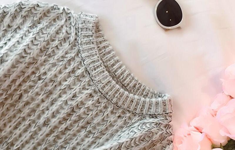 [55555SHOP]秋冬 新作 ニット 長袖 バルーン袖 ゆったり 大きいサイズ 丸首 チュニック トップス レディース ニットセーター