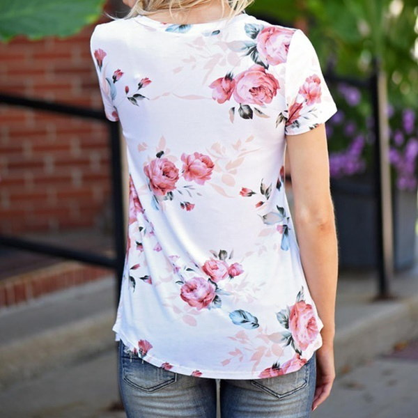 New Fashion Summer Women Casual Short Sleeve Flowers Printed Blouse Tops T Shirt High Quality