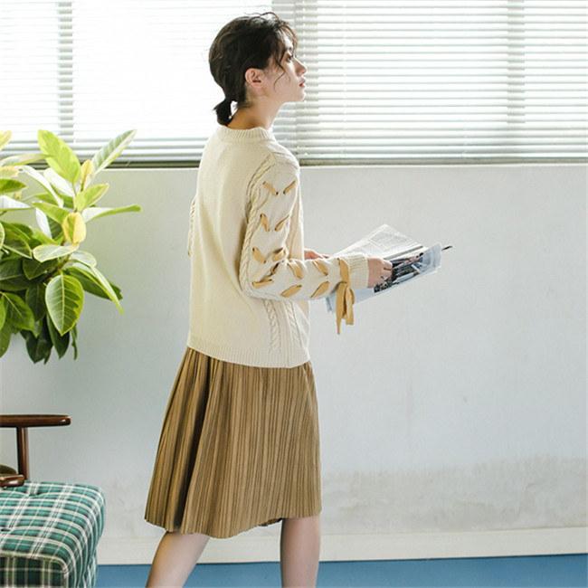 レディース  セーター   ♥韓国ファッション♥セーター  ♥  Sweet 長袖  knit swearter  ゆるかニットセーター ゆとりの、修身、独特のデザイン  レースアップ 送料無料