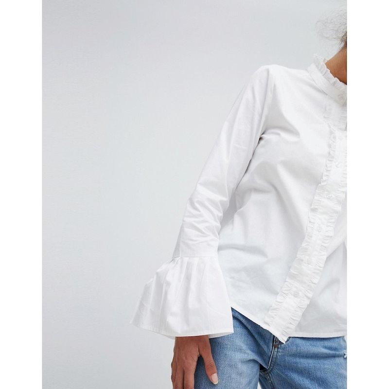 プリティリトルシング レディース トップス ブラウス・シャツ【PrettyLittleThing Flare Cuff Shirt】White