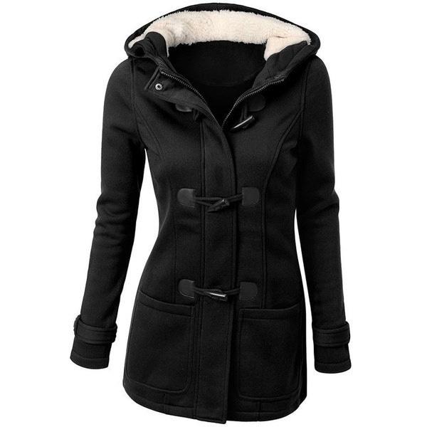 6色プラスサイズの女性のファッションフリース薄いウールのフード付き長袖ウォームコート