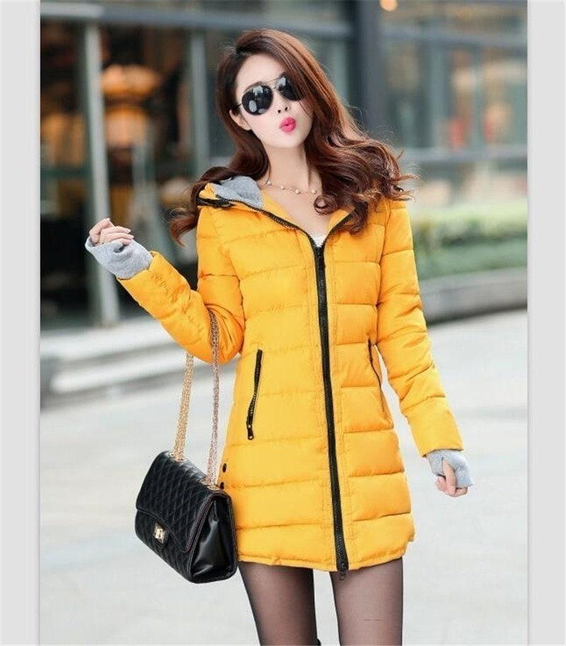 女性電子ジャケット冬2016の新しいミディアムロングダウンコットンパーカーPlue EizeコートエリムLadiee Caeual服ホットEale広告