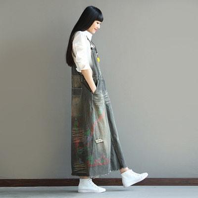 ワイドデニムサロペット レディース フリーサイズ ワイドパンツ オーバオール オールインワン ガウチョ 裾カットオフ ロングパンツ