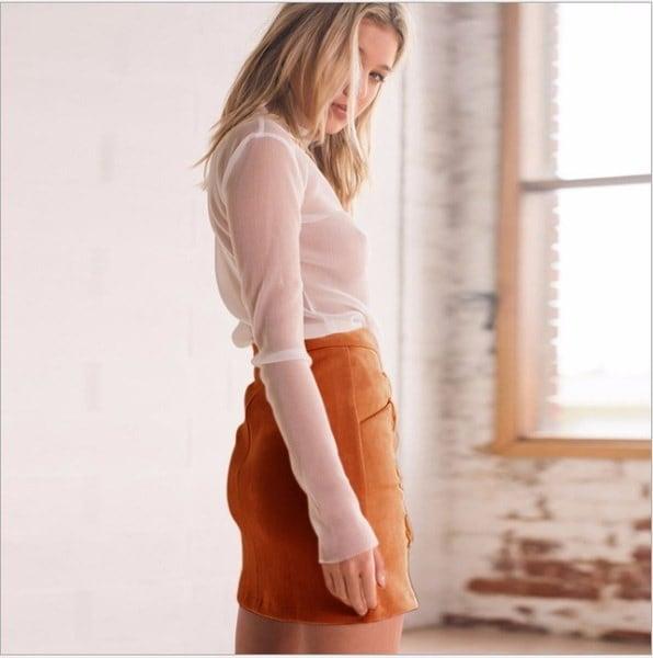 5色春夏ファッション女性ハイウエストレースアップボディソースエードレザーポケットプレッピーショートミニ