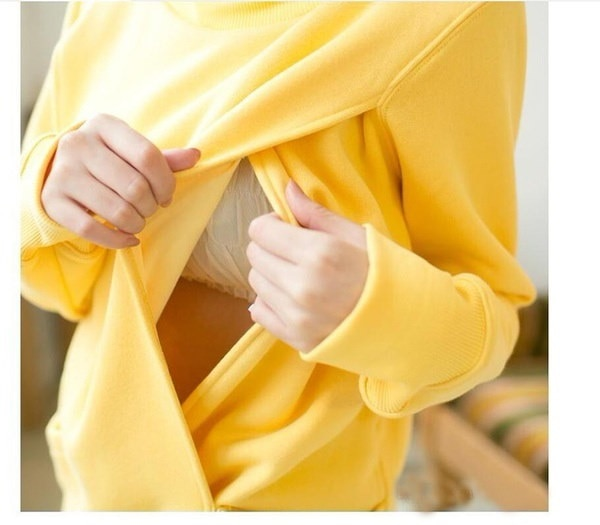 3つの色便利なサイドオープン授乳スウェットファンクション厚いフード付きプルオーバー