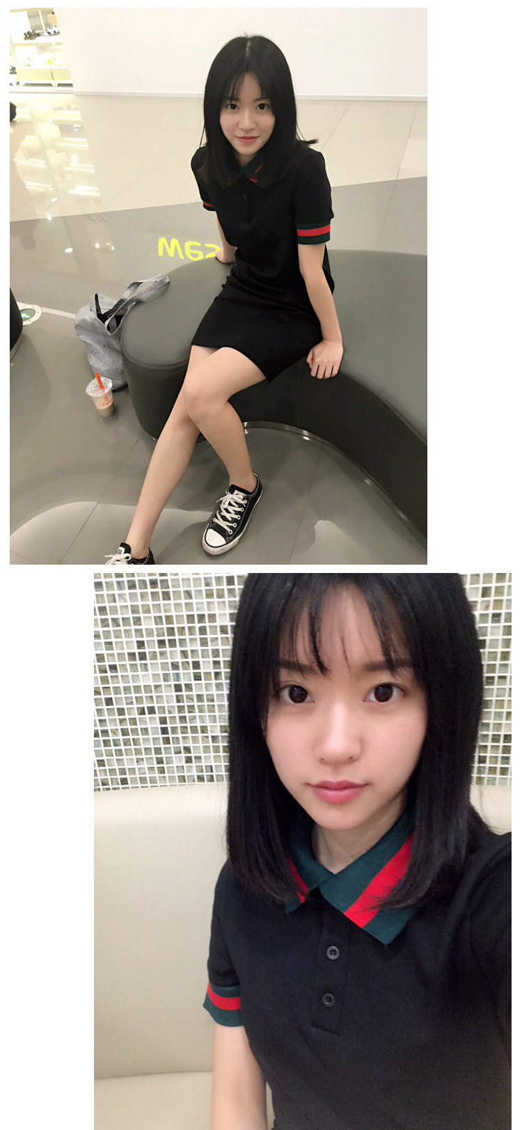 カレッジ風ラペルTシャツドレス☆ワンピース ライン カジュアル スポーティ レディース