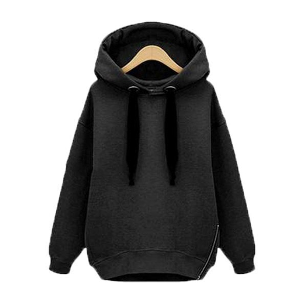 NEWファッション女性オーバーサイズパーカーロングスウェットサイドジップジャケットコートトッププラスカジュアルスエットシャツ