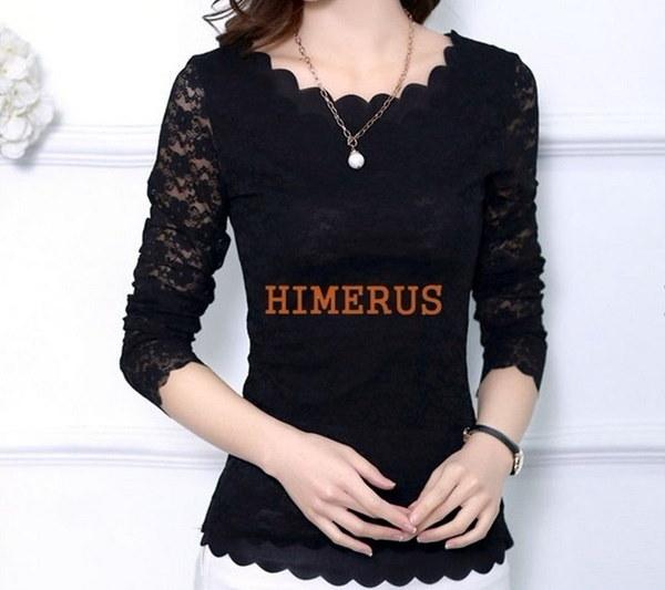 プラスサイズの春の女性中空レースブラウス長袖シャツトップスシャツカジュアルシャツブラウス