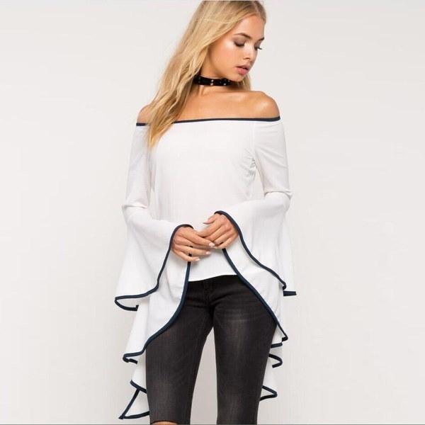 ファッション女性の女性の夏のロングスリーブシャツルーズカジュアルブラウストップTシャツ