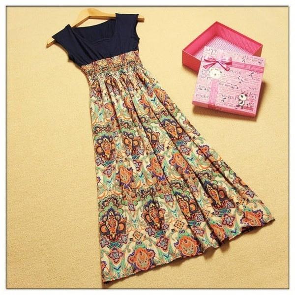 新しいファッションレディースレディースヴィンテージノースリーブボヘミアンハイウエストロングドレス花柄プリント