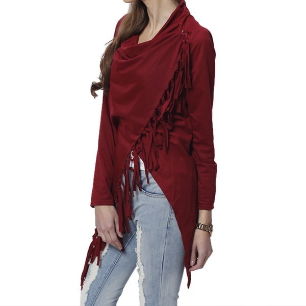 新カジュアル女性長袖ソリッドタッセルスラッシュブラウストップスシャツプラスサイズブラウストップス