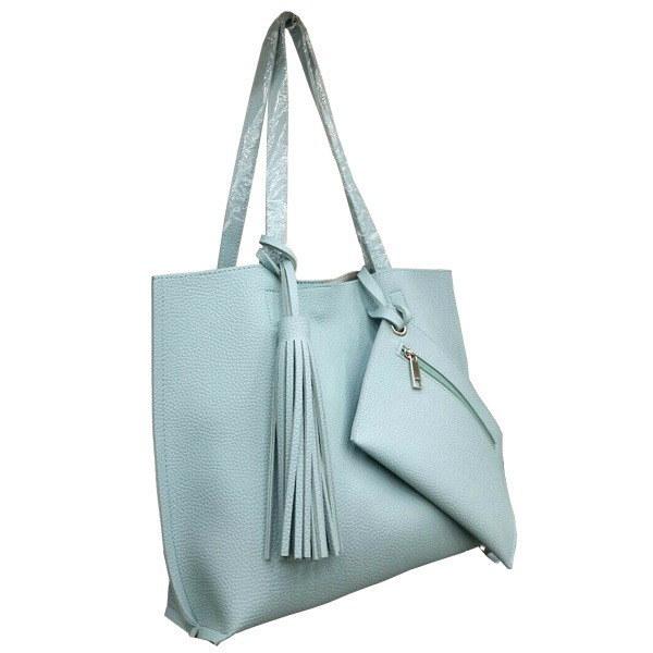 くったり柔らかい♪ビジネスにも普段使いにも使える持ち手長めのトートバッグ/ミント