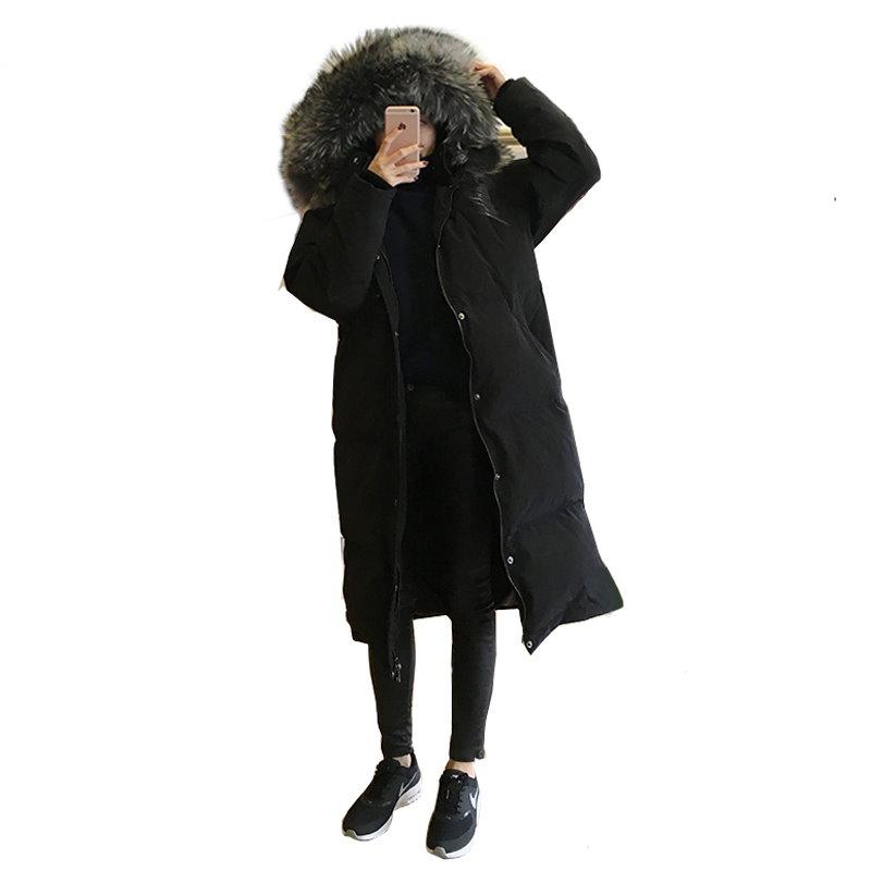 ダウンコート 膝丈 大きな毛皮の襟 綿 長い ジャケット