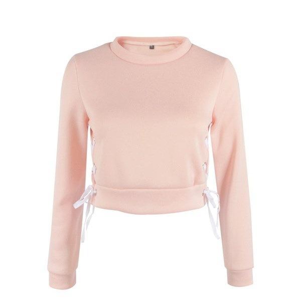 女性ファッションカジュアルトップスソリッドカラーロングスリーブシャツスリットバンデージハイネッククロップドスエットシャツSp