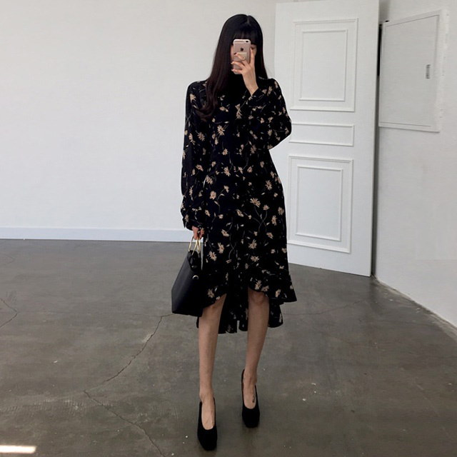 Aラインポーラネックオフカラーフラワーパターンフリル秋ワンピース30499デイリールックkorea women fashion style