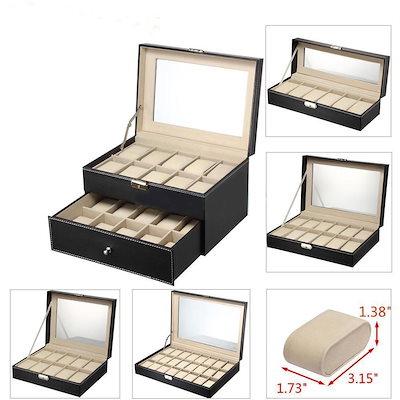 6 10 12 20 24スロットレザーウォッチボックスディスプレイガラストップジュエリーケースオーガナイザー