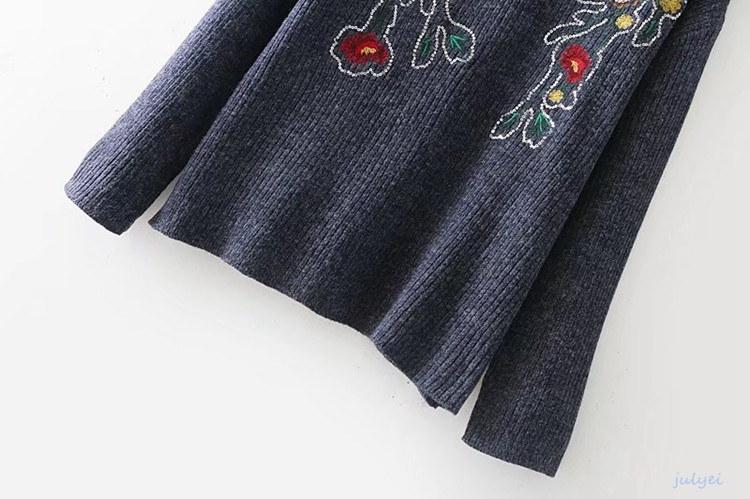 欧米風 綺麗め 花刺繡入り 秋冬クルーネックニット  レディース トップス   チュニック ニット   セーター  長袖