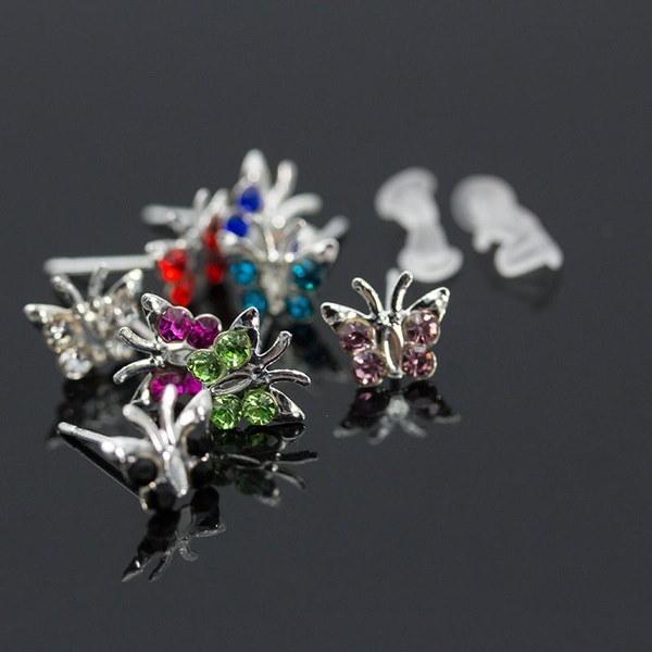 40個卸売業925スターリングシルバー混色蝶のスタッドピアスジュエリー