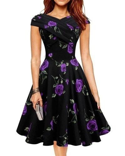 女性ヴィンテージロカビリードレススラッシュネック花プリントパーティードレス
