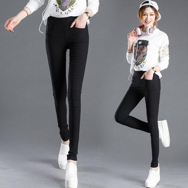 新しい女性のファッションカジュアルストレッチスキニーレギンス鉛筆パンツスリムパンツ(S  -  XXXL)
