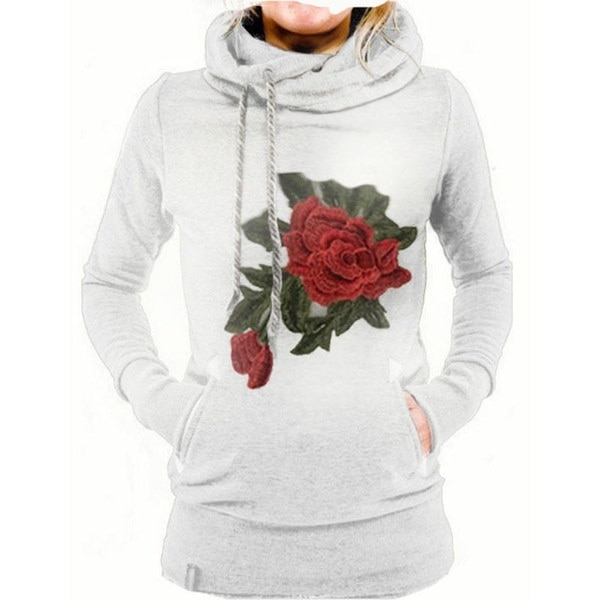 女性ファッション秋冬暖かいロングスリーブフード付きローズフラワープリントポケットプルオーバーカジュアルスポーツ