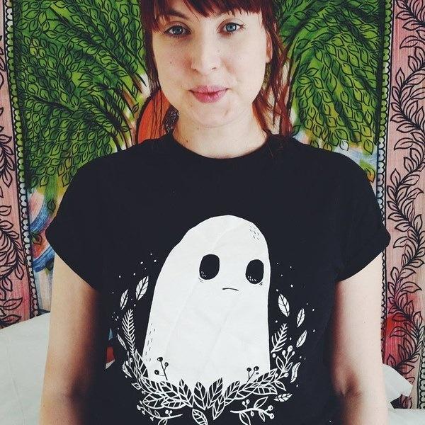 悲しいゴーストクラブユニセックスメンズ女性TumblrファッションかわいいTシャツ夏のカジュアルルーズブラックティートップス