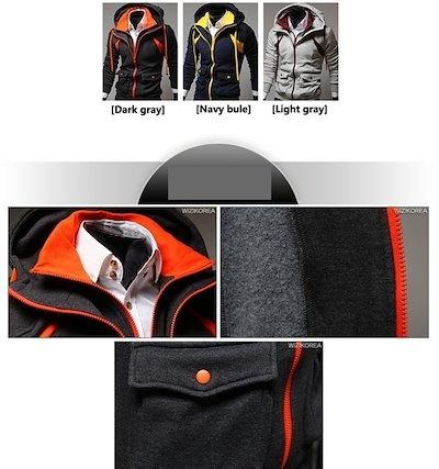 leechennラグジュアリーアサシンクリード3男性のカジュアルジャケットスウェットパーカーメンズパーカージャケットコートパーカダブルジッパーコントラスト1124(サイズ:M、カラー:ネイビー)