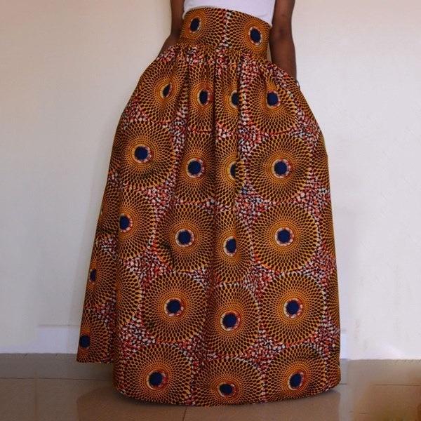 アフリカープラスサイズの女性はハイウエスト部族の長いマキシプリーツスイングスケータースカートを印刷
