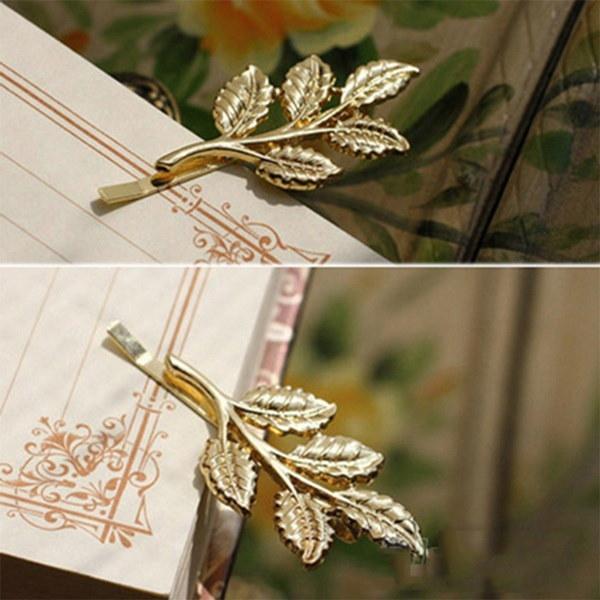 サンシャインクオリティチャーミングな葉ゴールデンパンクギフトラブリーメタル2本ヘアファッションクリップ
