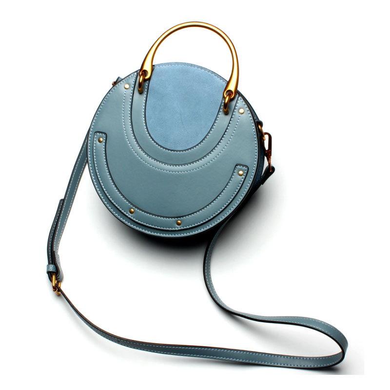 【予約 / 送料無料】本革円形バッグ/小型がオシャレな人気バッグ/ショルダーバッグ/斜め掛けバッグ/ショッピング/旅行レディースバッグ/-5 colors