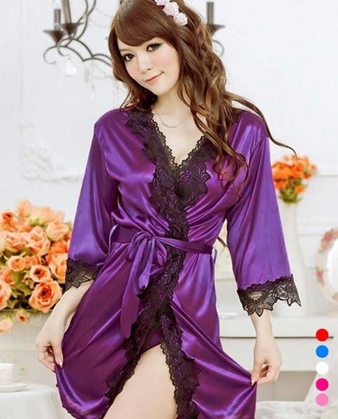 女性セクシーなシルキーサテンレースの寝間着ランジェリーローブナイトドレスのナイトガウン(ワンサイズ)