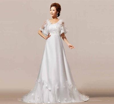 簡約系 レース ウェディングドレス トレーン 七分丈袖 礼服 花嫁 エンパイアライン クラシック XCTW13