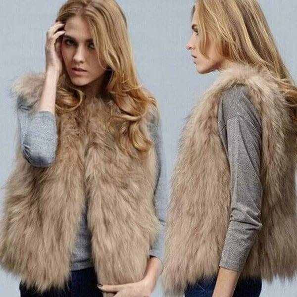 女性のファッション秋と冬暖かい短いフェイクファーのベスト