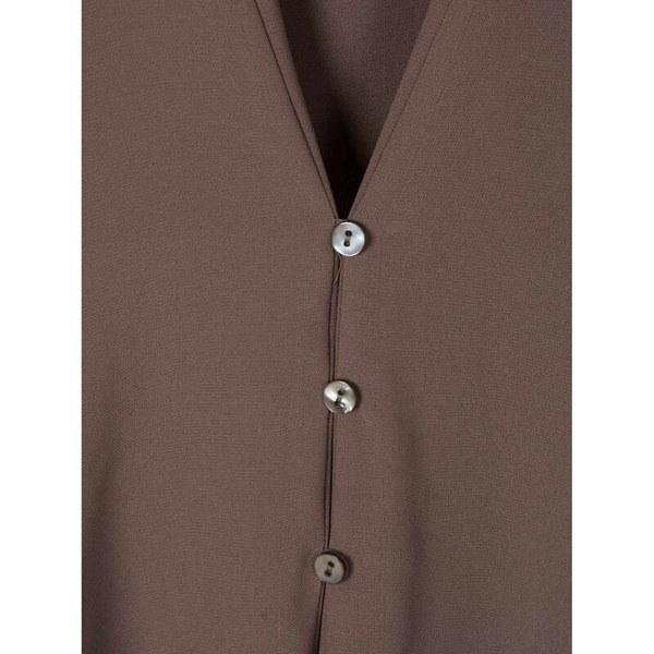 新しいファッションカジュアルセクシーなディープVネックボタンスリムウエストロングスリーブシフォンブラウスシャツトップ