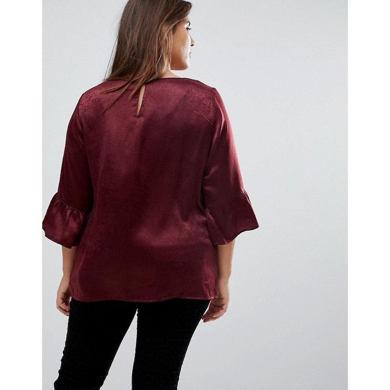 ジュナローズ レディース トップス【Junarose Woven Shell Top With Frill Sleeve】Red