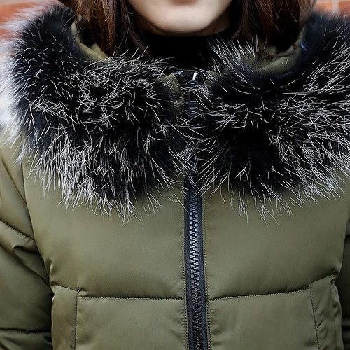 ダウンジャケット コート ワッペン プリント モコモコ 毛襟 フード付き スリム 全2色