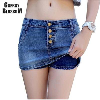 SにXXXLプラスサイズ4 ButtonsデニムSkortレディースSummer StyleショーツスカートHot Jeans WomenセクシーなスリムヒップショーツFashion Short
