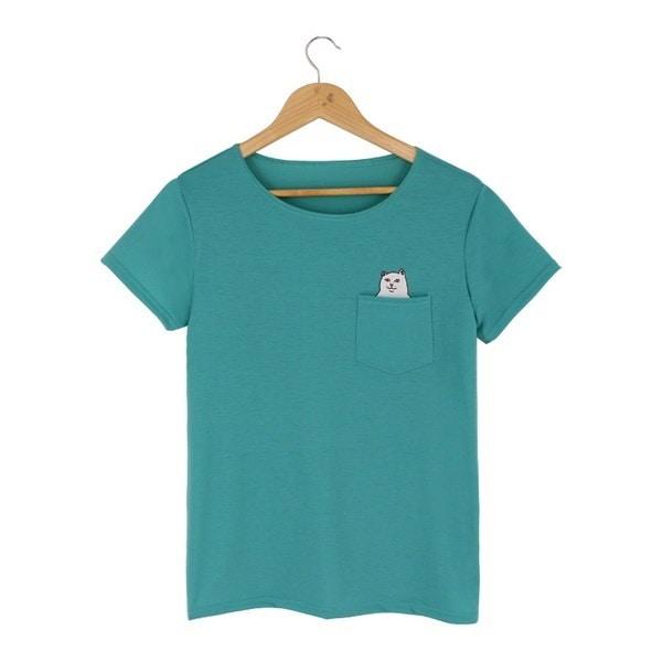 女性夏のTシャツプリントブラックポケット猫原宿オックネック半袖コットンカップルティープラスサイズ