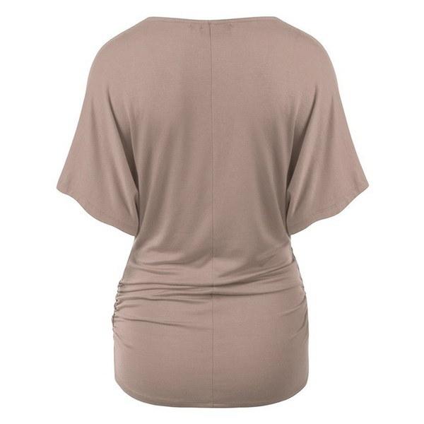女性のバットウィングスリーブVネックラップフロントドレープトップカジュアルブラウスTシャツ