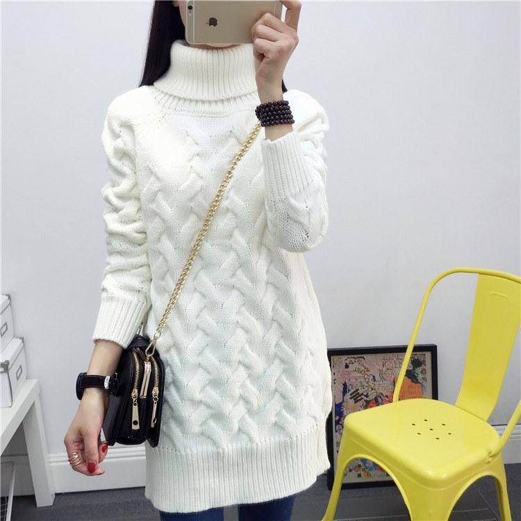 送料無料/秋と冬の新しい高襟のプルオーバーのセーター女性韓国の緩い肥厚シャツソリッドカラーロングセータージャケット