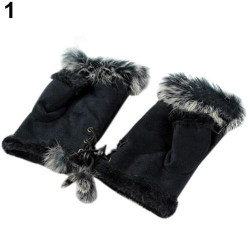 新しいウサギ毛皮レザーレディースフィンガーレススエードミトン女性ウィンター手首手袋