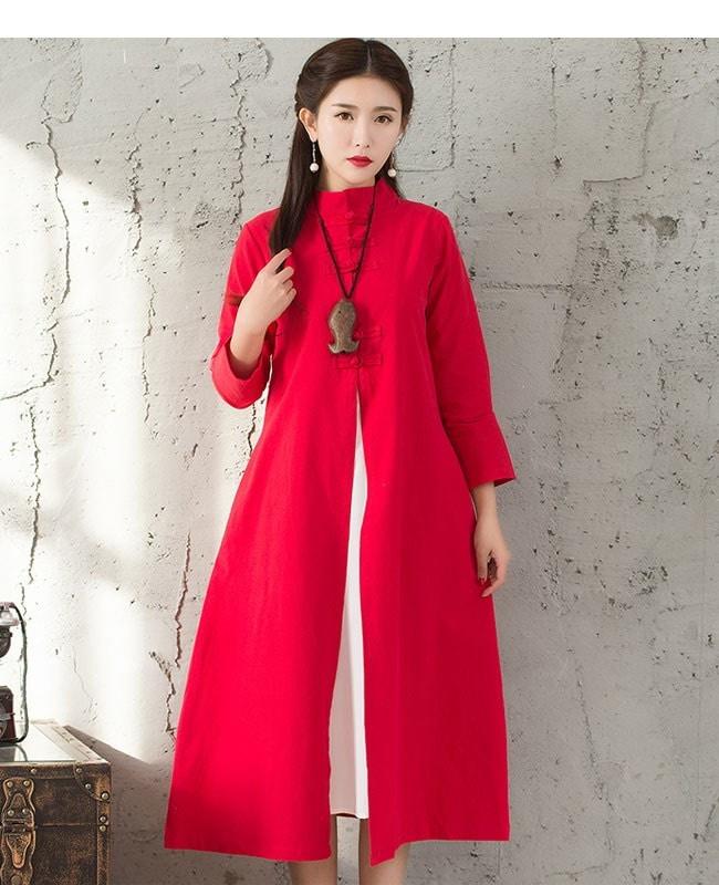 アウター コート トレンチコート レディース 女性 羽織 ロングコート チャイナドレス ワンピース ハイネック 中国風 シンプル