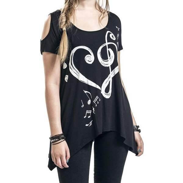 Women Fashion Musical Note Printing Leakage Shoulder T-Shirt