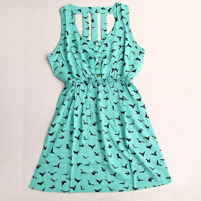 夏の スタイル 2016女性カジュアル ドレス イーグル ヒョウ プリント グリーン夏ドレス vestido背中の開い た ドレス プラス サイズ の女性服