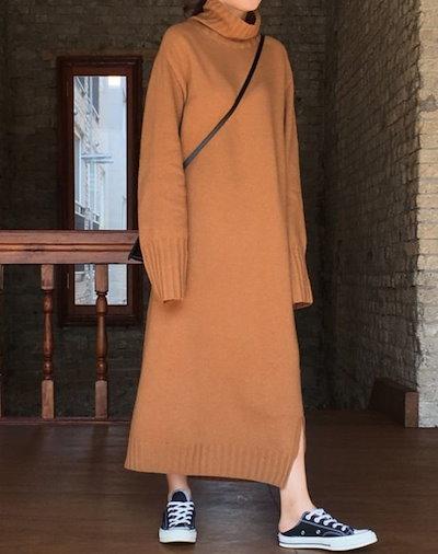 ニットワンピース ニット ロング丈 ゆったり タートルネック 長袖 くすみカラー あったか PHTC0019