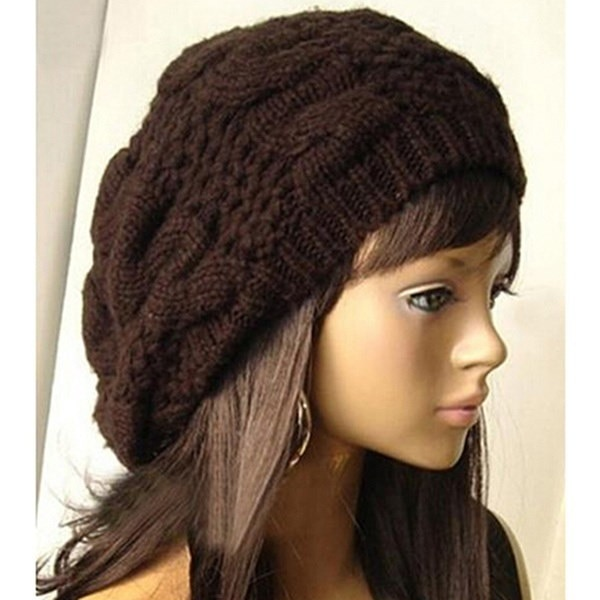 ファッション暖かい冬のニットかぎ針編みのベレー柄のバギー女性レディビーニースキー帽子キャップ